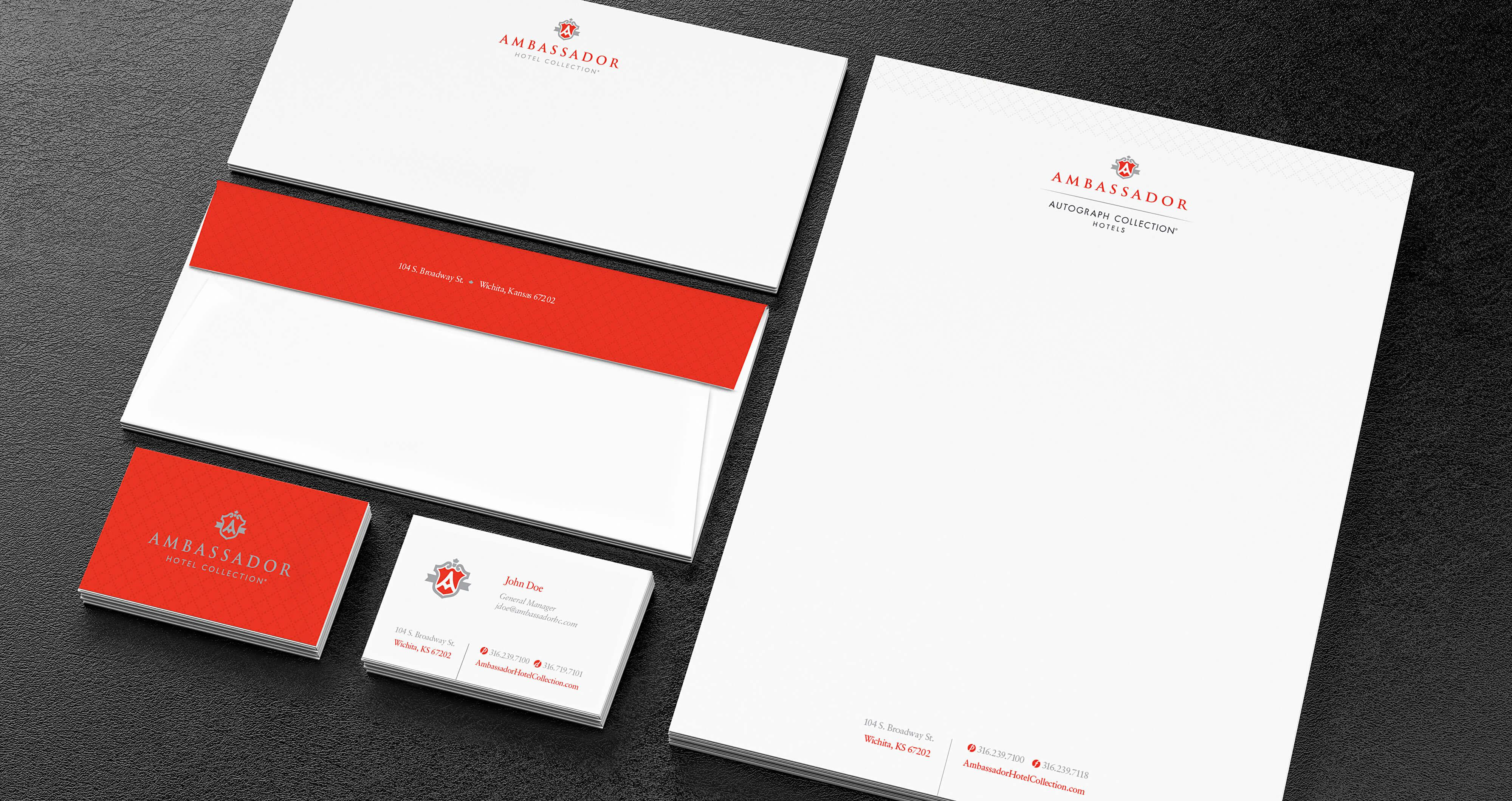 Ambassador cards, letterhead and envelopes examples