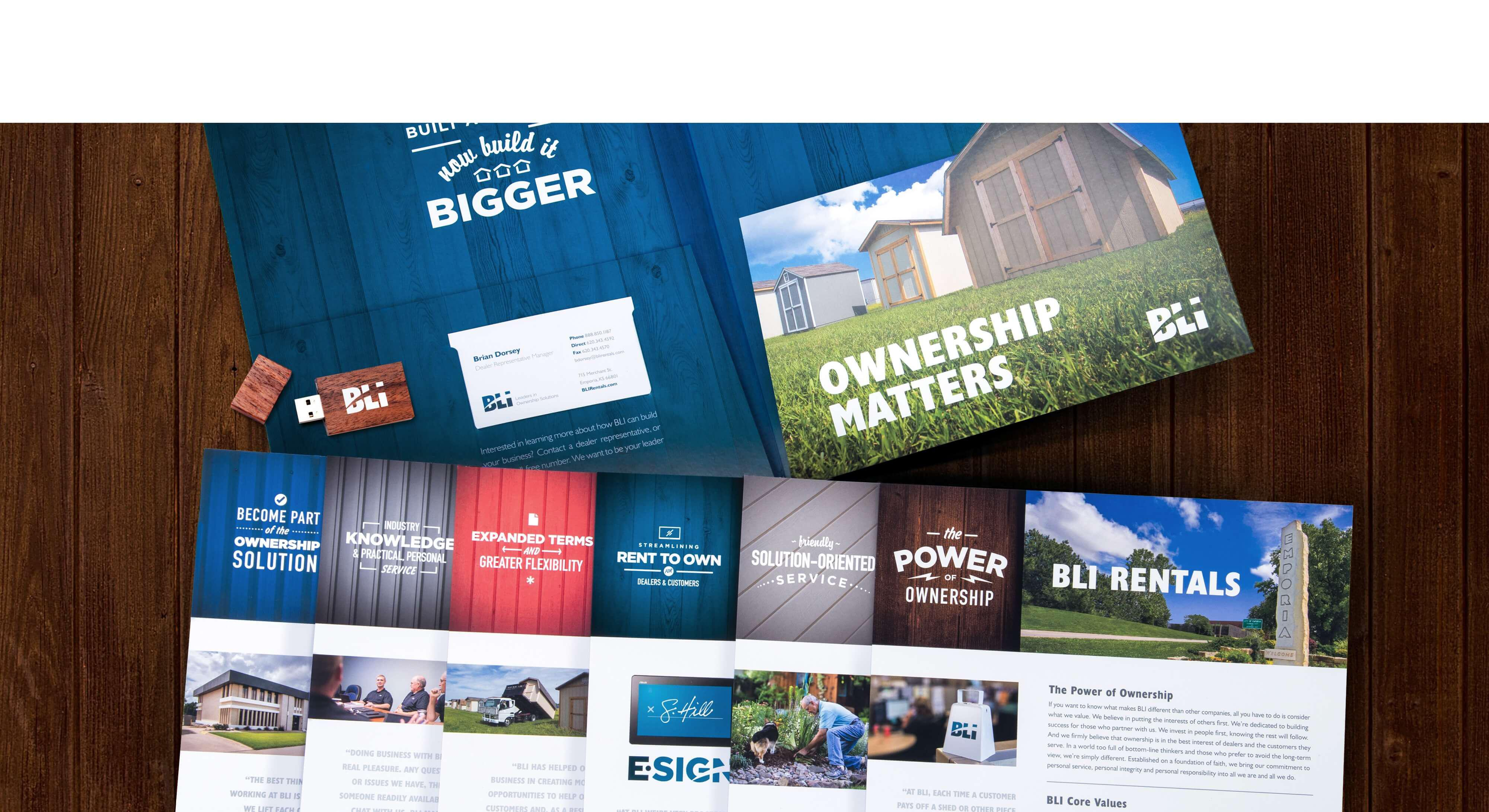 BLI Rentals print brochure and folder examples