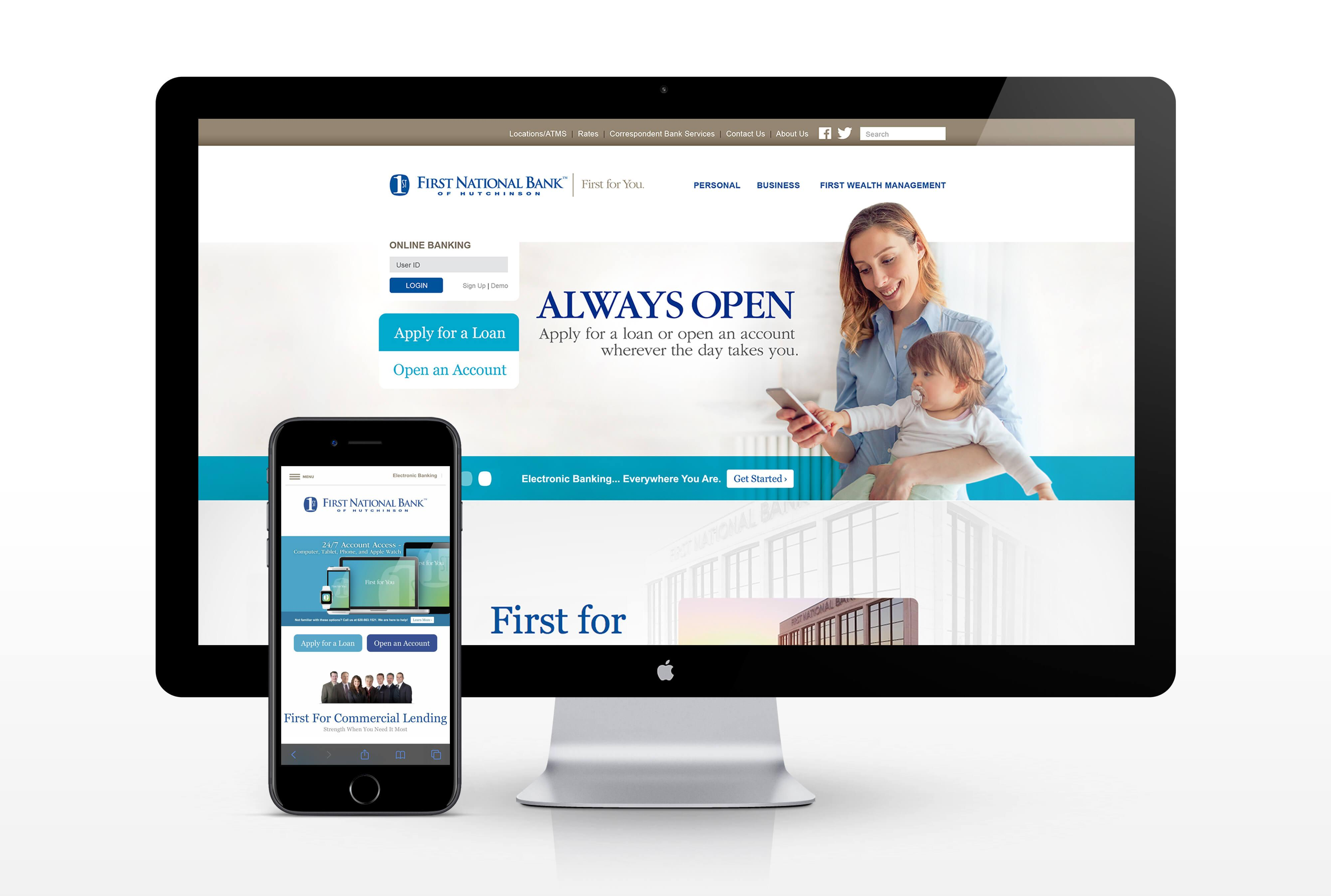 First National Bank of Hutchinson Website Homepage